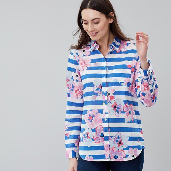 Joules Lucie Blue Stripe Floral Printed Woven Shirt Size 12