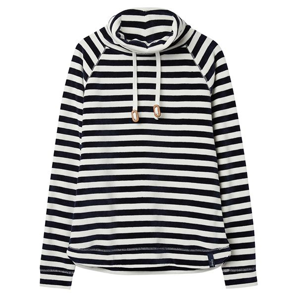 Joules Mayston Cream Navy Stripe Funnel Neck Light Sweatshirt