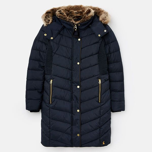 Joules Marine Navy Cherington Chevron Quilted Longline Padded Coat Size 16