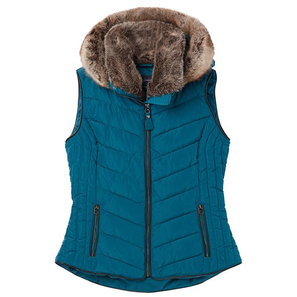 Joules Maybury Dark Teal Chevron Quilt Padded Gilet With Hood