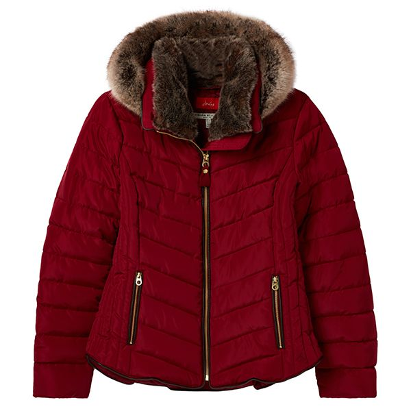 Joules Gosway Red Shoe Chevron Quilt Padded Jacket With Hood