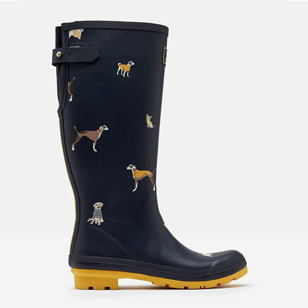 Joules Welly Print With Adjustable Back Navy Harbour Dogs Size 7