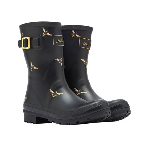 Joules Molly Black Metallic Bees Mid Height Printed Wellies Size 5