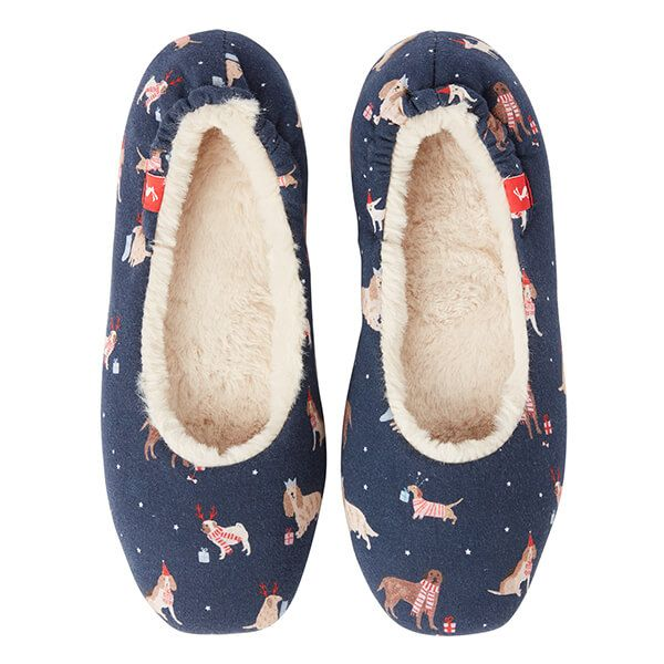 Joules Dreamwell Xmas Dogs Slip On Slippers Size M
