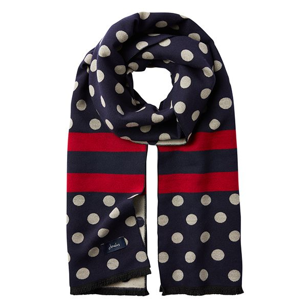 Joules Jacquelyn French Navy Spot Jacquard Scarf