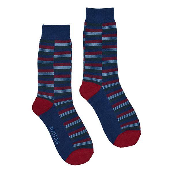 Joules Striking Single Blue Red Stripe Cotton Pair Of Socks Size 7-12