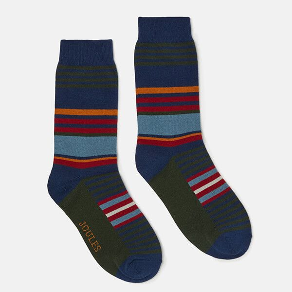 Joules Striking Single Green Multi Stripe Cotton Pair Of Socks Size 7-12