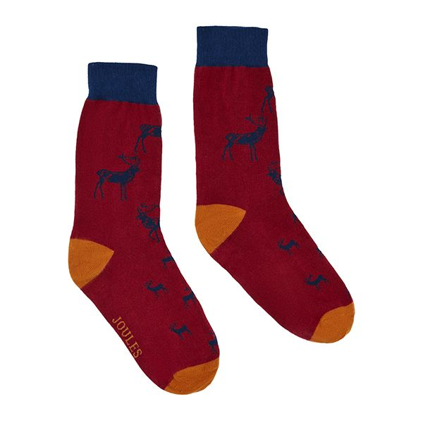 Joules Striking Single Red Navy Stag Cotton Pair Of Socks Size 7-12