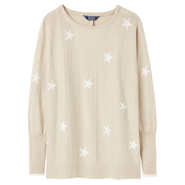 Joules Kellie Oat Star Round Neck Swing Jumper Size 12