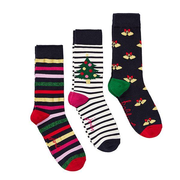 Joules Christmas Bamboo 3 Pack Navy Multi Xmas Bamboo Socks Size 4-8