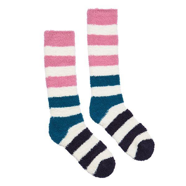 Joules Fabulously Fluffy Green Block Stripe Socks Size 4-8