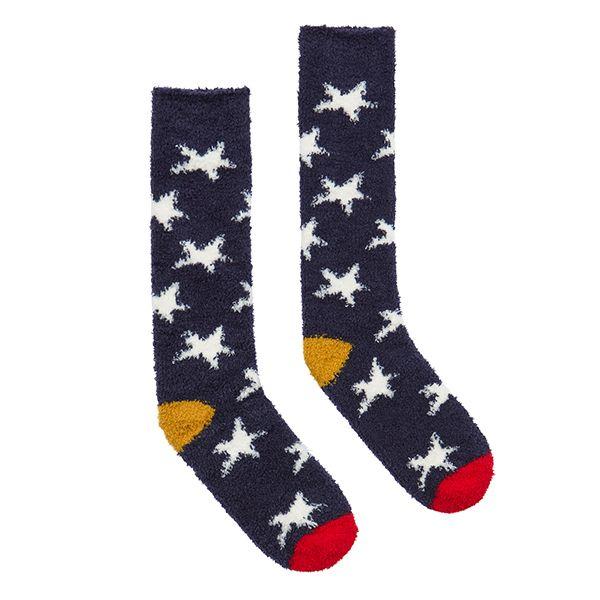Joules Fabulously Fluffy Navy Winter Star Socks Size 4-8