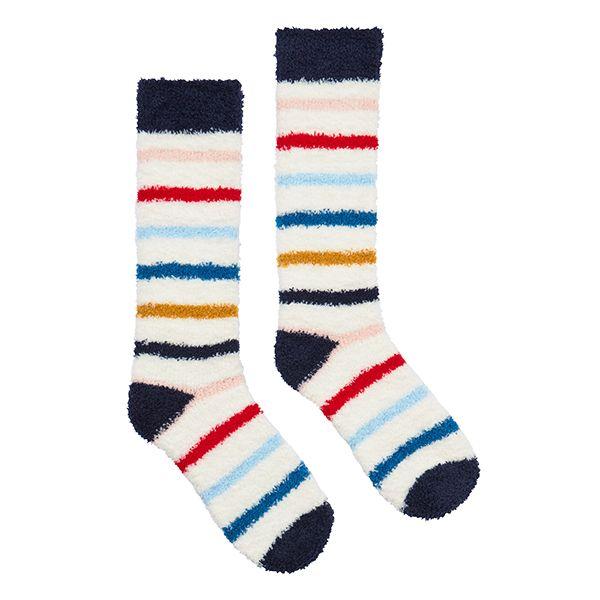 Joules Fabulously Fluffy White Nautical Stripe Socks Size 4-8