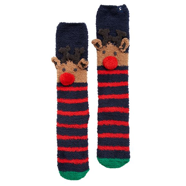 Joules Christmas Fluffy Navy Reindeer Socks Size 4-8