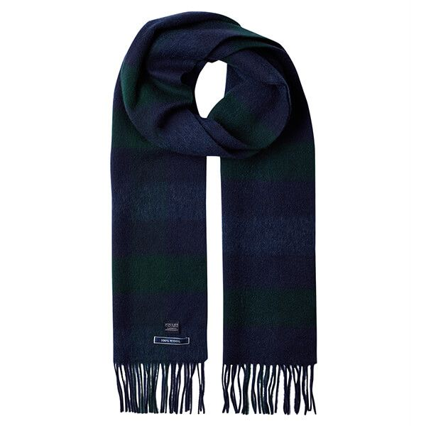Joules Tytherton Navy Green Check Wool Checked Scarf