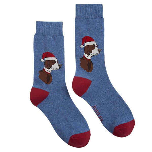 Joules Striking Single Blue Xmas Dog Christmas Ankle Socks Size 7-12