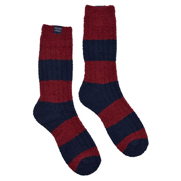 Joules Deep Red Supersoft Fluffy Socks Size 7-12