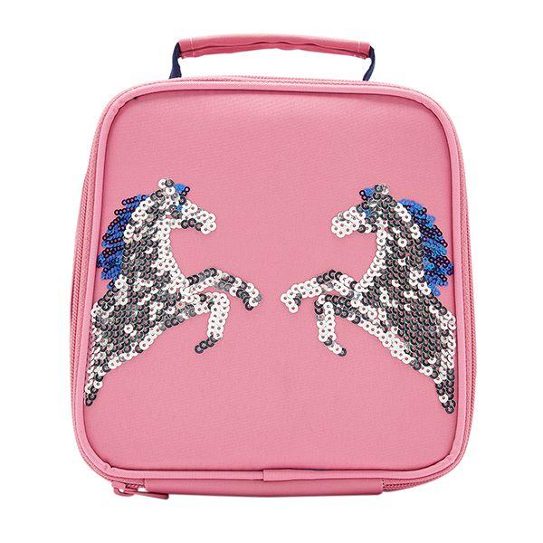 Joules Munch Pink Sequin Horse Girls Lunch Bag