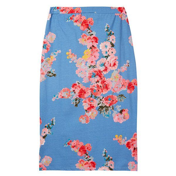 Joules Amara Print Blue Floral Jersey Midi Skirt Size 14