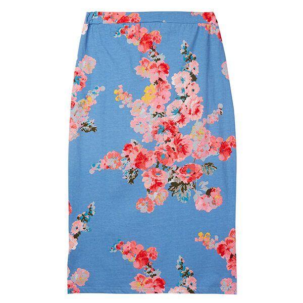 Joules Amara Print Blue Floral Jersey Midi Skirt Size 18