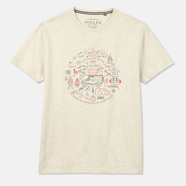 Joules Flynn Cream Marl Graphic Print Crew Neck Tee