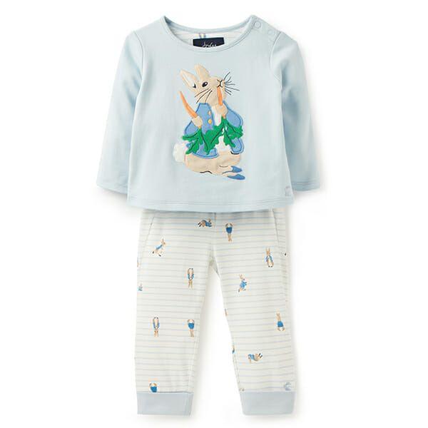 Joules Byron Blue Peter Rabbit Applique Top And Trouser Set