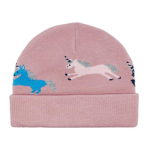 Joules Neddy Pink Unicorns Intarsia Hat