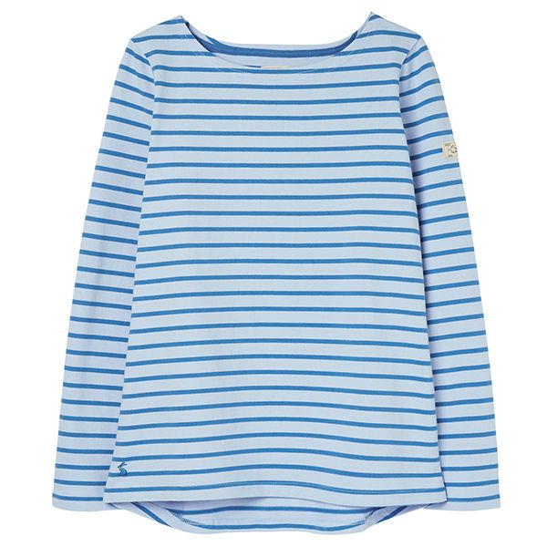 Joules Harbour Mid Blue Stripe Long Sleeve Jersey Top Size 18