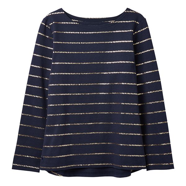 Joules Harbour Print Navy Stripe Long Sleeve Jersey Top Size 14