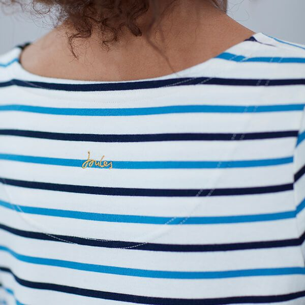 Joules ladies blue and black buzzing bee stripe Harbour Embroidered Long Sleeve