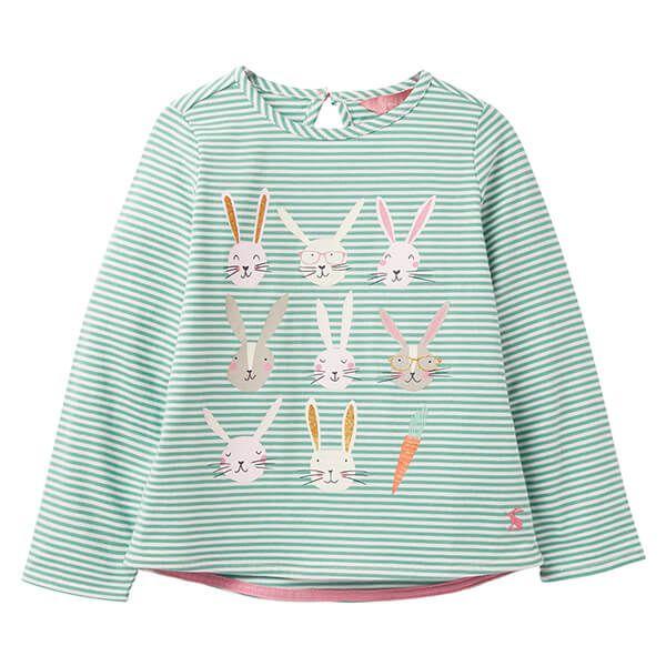 Joules Bessie Green Stripe Bunnys Screen Print Tee
