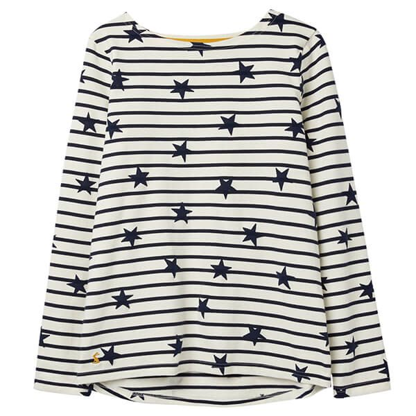 Joules Harbour Luxe Cream Navy Star Long Sleeve Jersey Top Size 18