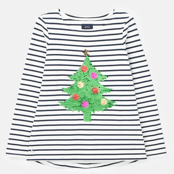 Joules Christmas Xmas Tree Stripe Harbour Luxe Long Sleeve Jersey Top