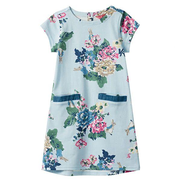 Joules Patch Light Blue Peter Rabbit Floral Pocket Dress