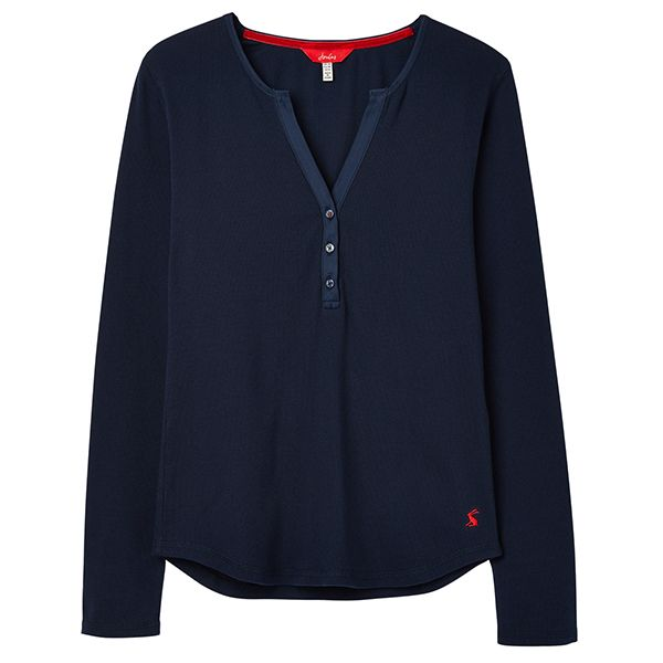 Joules Cici French Navy Long Sleeve Ribbed Jersey Top Size 14