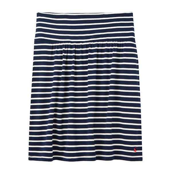 Joules Navy Cream Stripe Tayla Jersey Skirt With Gathers