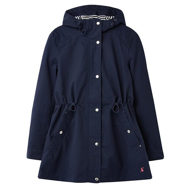 Joules French Navy Shoreside Waterproof A-Line Coat Size 16