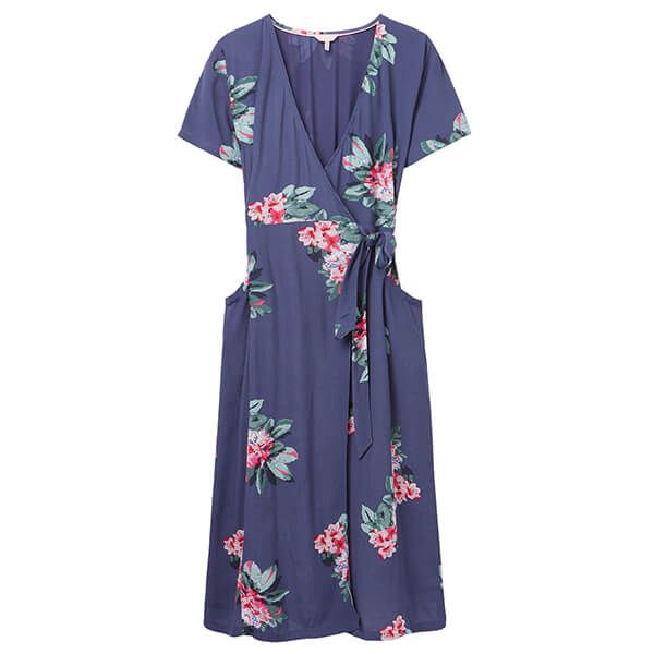 Joules Floral Blue Callie Print Wrap Dress