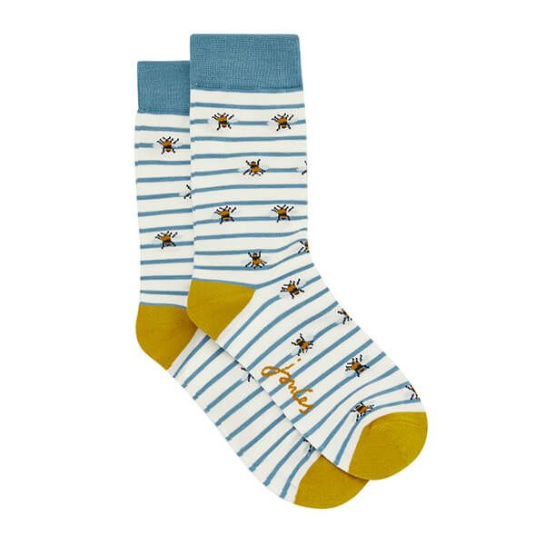 Joules Cream Bee Brilliant Bamboo Single Socks