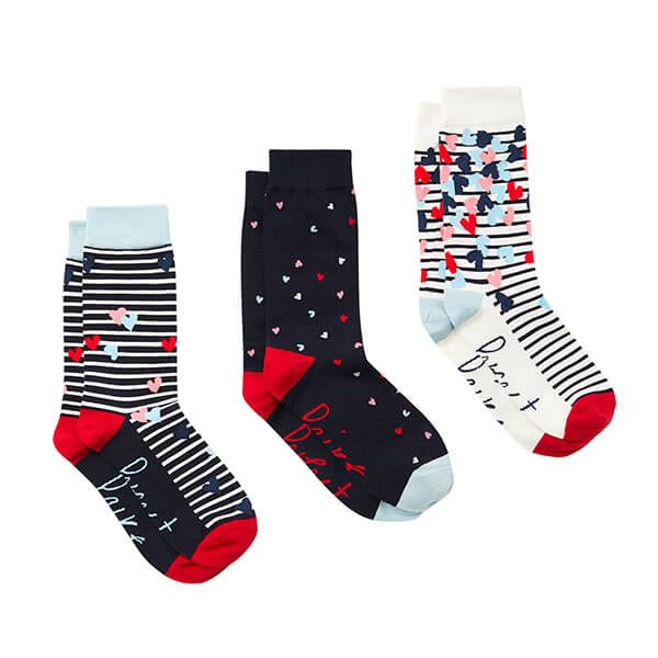 Joules Navy Love Hearts Pack of Three Brilliant Bamboo Socks