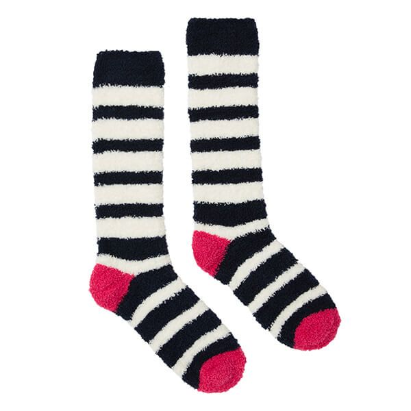 Joules Navy Stripe Fabulously Fluffy Socks