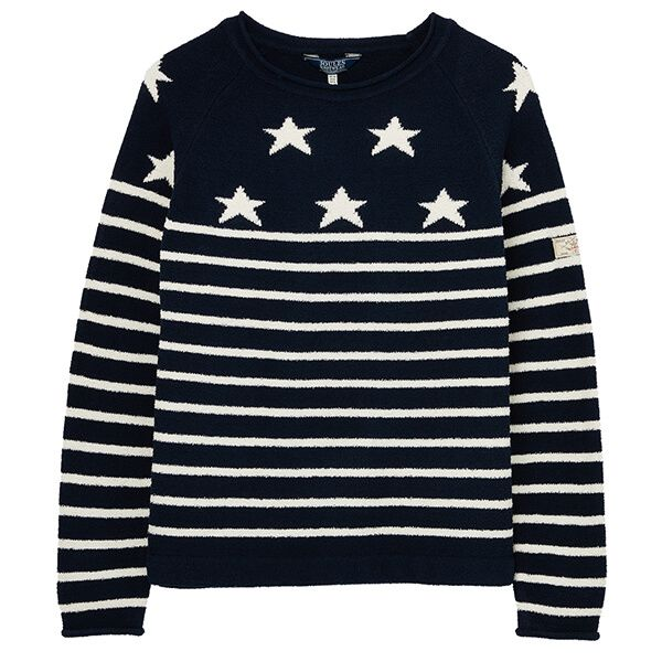 Joules Navy Cream Star Seaport Roll Neck Raglan Jumper Size 20