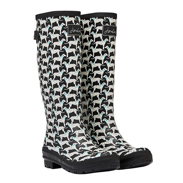 Joules Black Dalmations Printed Wellies with Back Gusset Size 8