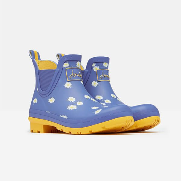 Joules Blue Daisy Wellibob Short Height Printed Wellies Size 4