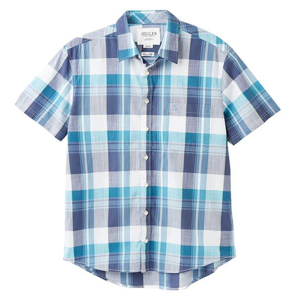 Joules White Green Check Wilson Short Sleeve Classic Fit Check Shirt