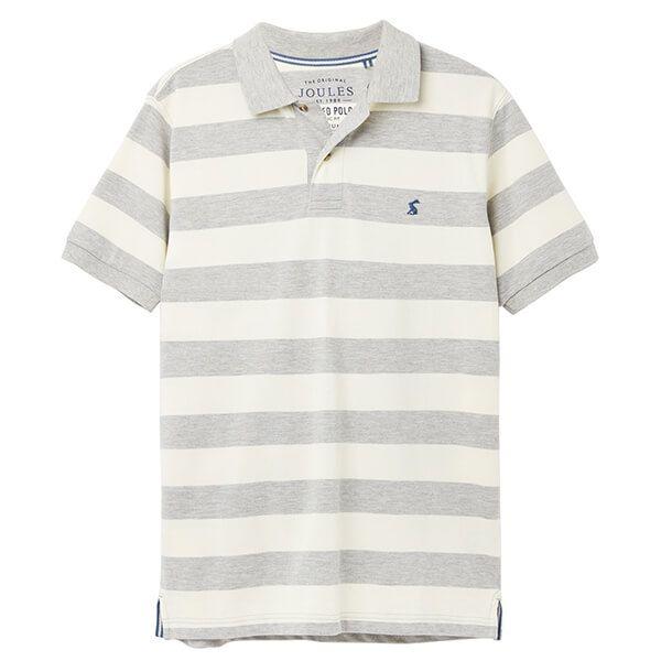 Joules Grey Cream Stripe Filbert Striped Polo Shirt