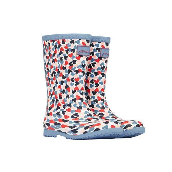 Joules Girls White Hearts Junior Roll Up Wellies