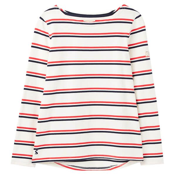 Joules Cream Red Blue Stripe Harbour Long Sleeve Jersey Top