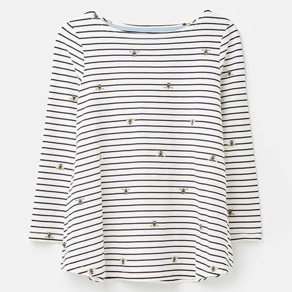Joules Bee Stripe Harbour Light Long Sleeve Jersey Top