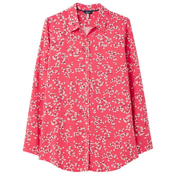 Joules Red Ditsy Elvina Button Front Woven Shirt Size 12
